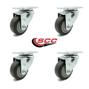 Scc 3 5 Thermoplastic Rubber Wheel Swivel Casters Set Of 4