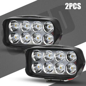2pcs Motorcycle 8led Headlight Spot Light Driving Fog Lamp Atv Street Bike Utv