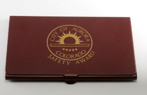 Vintage City Of Aurora Colorado Safety Awards Metal Business Card Holder Case
