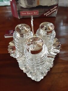 Vintage Cruet Set 4 Pc Silver Plated Queen Anne New In Box
