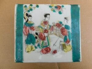 Antique Chinese Hand Painted Figures Porcelain Pillow Block