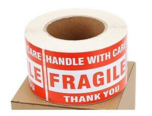 500 Big Labels 3x5 Fragile Handle With Care Mailing Shipping Warning Stickers