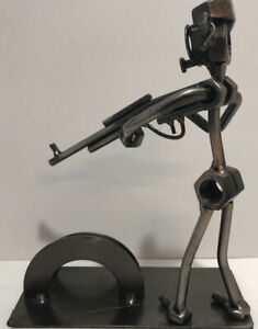 Unique Viintage Business Card Holder Bolt Man Holding A Rifle
