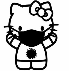 Hello Kitty Face Mask Vinyl Decal Sticker For Car Laptops And More