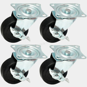 4 Pack Caster Heavy Duty Rubber 3 Inch Caster Wheels With Brake Swivel Top Plate