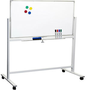 Large 48 x32 White Board On Wheels Rolling Stand 4 Dry Erase Markers