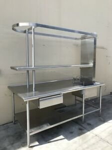 7 Commercial Nsf Ss Stainless Sink table W Shelves Pot Rack Drawers Power