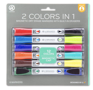 Dry Erase Whiteboard Markers Low Odor Magnetic Double Ended With Erasers