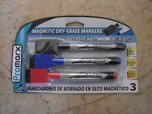 New 3 Pk Magnetic Dry Erase Markers With Eraser On Cap 3 Colors