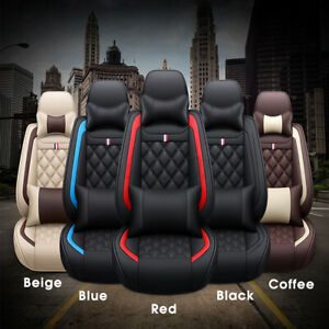 Deluxe 5 Seats Car Seat Covers Front Rear Full Set Pu Leather Protector Cushion