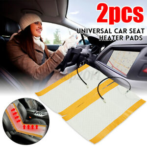 Us 2pcs 12v Universal Carbon Fiber Heated Car Seat Heating Pad Heater Warmer Mat