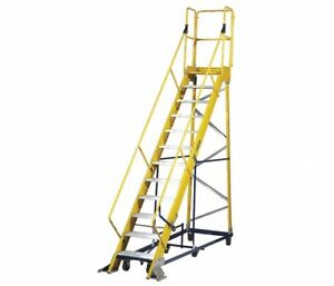 Fw2412 5mrj1 12 step Rolling Ladder Serrated Step Tread 1561 2 In Overall Heig