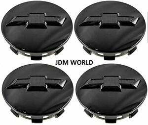 4 Gloss Black Wheel Rim Center Hub Caps For Chevy Silverado Suburban Tahoe 83mm