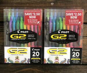 2 Pack Pilot G2 Premium Gel Ink Pens 0 7mm Fine Point 40 Ct Ea 80 Total