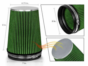 6 Inch Inlet Air Intake Cone Dry Universal Green Large Filter Car Truck Suv