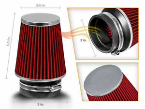 Red 3 Inches Inlet Cold Air Intake Cone Dry Type Narrow Filter