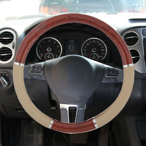 Wood Grain Steering Wheel Cover Fit For Auto Car Suv Lux Grip Beige Syn Leather