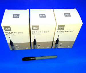 Lot Of 3 Box Of 36 Office Depot Black Fine Point Permanent Markers 108 Total