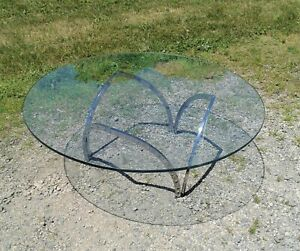 Mid Century Modern Chrome And Glass Coffee Table Vintage
