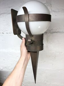 Rare Large Antique 1910s Art Crafts Exterior Wall Sconce Light Lamp Torch Vtg