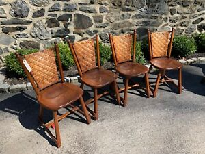 Old Hickory Stamped Vintage Set Of 4 Splint Back Dining Chairs