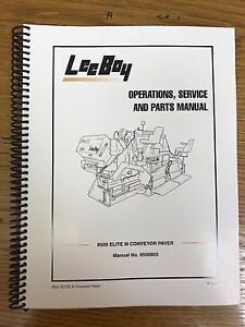 Oem Leeboy 8500 Elite 3 Conveyor Paver Operation Service Parts Manual Book