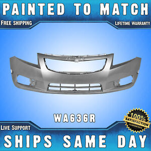 New painted 636r Silver Front Bumper Cover For 2011 2014 Chevy Cruze Ls Lt Ltz