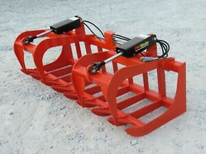 72 Dual Cylinder Root Grapple Bucket Attachments Fits Kubota Tractor Loader