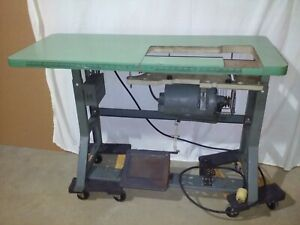 Vintage Singer Industrial Sewing Machine K leg Table With 3 Phase Motor