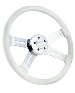 18 White Steering Wheel 4 Chrome Spokes Horn Freightliner Kenworth Peterbilt