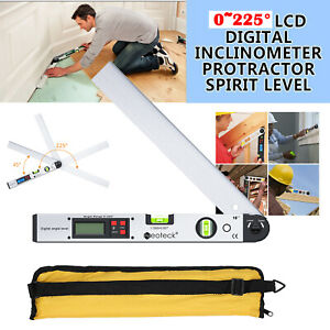 0 225 Electronic Digital Lcd Angle Finder Stainless Steel Protractor Ruler 16