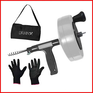 Drainx Power Pro 50 ft Steel Drum Auger Plumbing Snake With Drill Adapter Duty