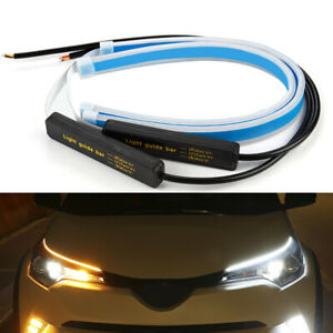 60cm 24 Slim Amber Sequential Flexible Led Drl Turn Signal Strip For Headlight