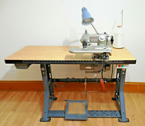 Antique Industrial Singer Blind Stitch Sewing Machine W table Works Great