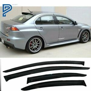 For 08 17 Mitsubishi Lancer Smoke Window Rain Visors Shade Slim Style Guard Vent