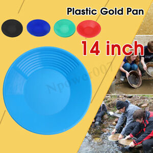 Gold Pan 14 Inch Black Plastic Gem Fossicking Panning Prospecting A