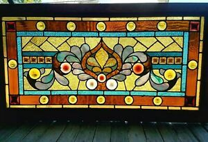 Great Victorian Roundel Jeweled Stained Glass Window 25 X 47