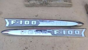 1961 1962 Ford Truck F 100 Hood Side Emblems Original Pair Name Plates