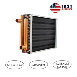Water To Air Heat Exchanger 20x20 With Copper Ports For Outdoor Wood Furnaces