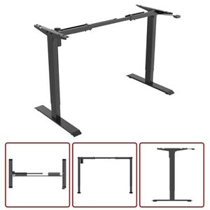 Electric Motor Sit Stand Computer Desk Frame Height Adjustable Workstation Black