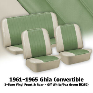 1961 1965 Vw Ghia Convertible Off White And Green Seat Cover Set 383194u252