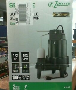 Zoeller Submersible Sump Sewage Pump 1 2 Hp 103 Gpm 1263 Cast Iron 1263 0001