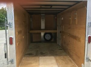 Used 2018 6x12 6 X 12 V nose Enclosed Cargo Trailer W Ramp