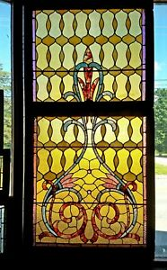 Large Victorian Double Hung Stained Glass Window