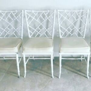 4 Phyllis Morris Faux Bamboo Cast Aluminum Chippendale Chairs