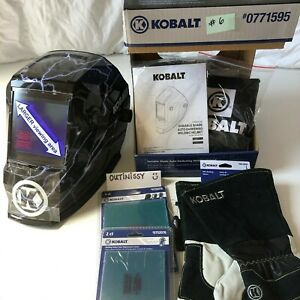Kobalt Auto Darkening Welding Helmet Large Viewing Area Lot Gloves
