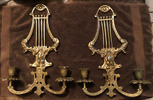Brass Wall Sconces With Swan Design Pair Vintage