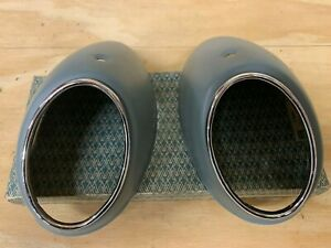 Vw Bug Oval Snowflake Pair Taillight Metal Housings With Bezels 1956 1961
