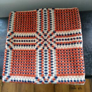 Antique Woven Coverlet Pillow Cover Navy Orange Ivory Wool W Homespun Back 14