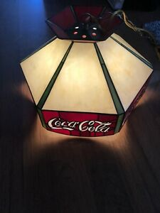 Vintage Coca Cola Stained Glass Tiffany Stylite Hanging Lamp Bar Pool Table